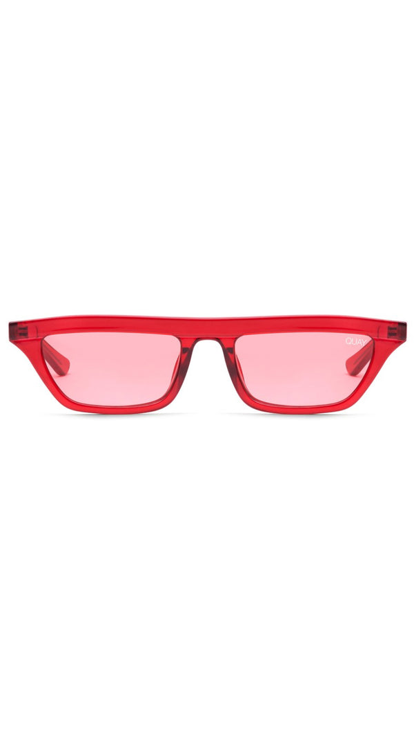 Quay Red Rectangular Shaped Sunglasses