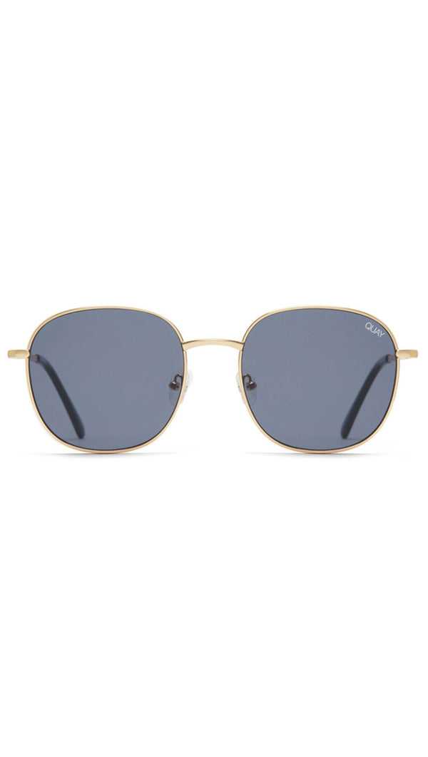 Quay Gold and Grey Metal Frame Round Sunglasses