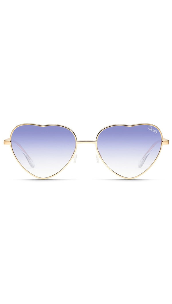 Quay Gold And Blue Metal Frame Heart Shaped Sunglasses