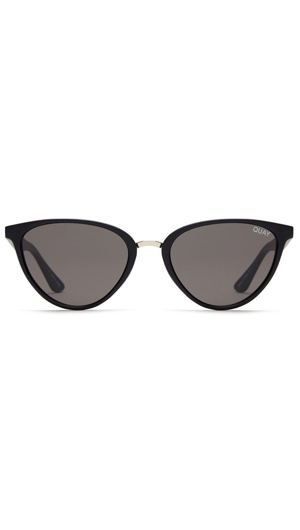 Quay Black Plastic Frame Cat Eye Sunglasses