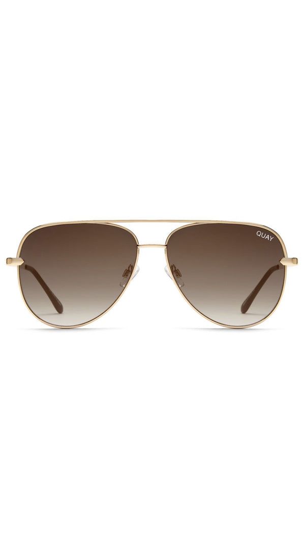 Quay Gold And Taupe Metal Frame Aviators