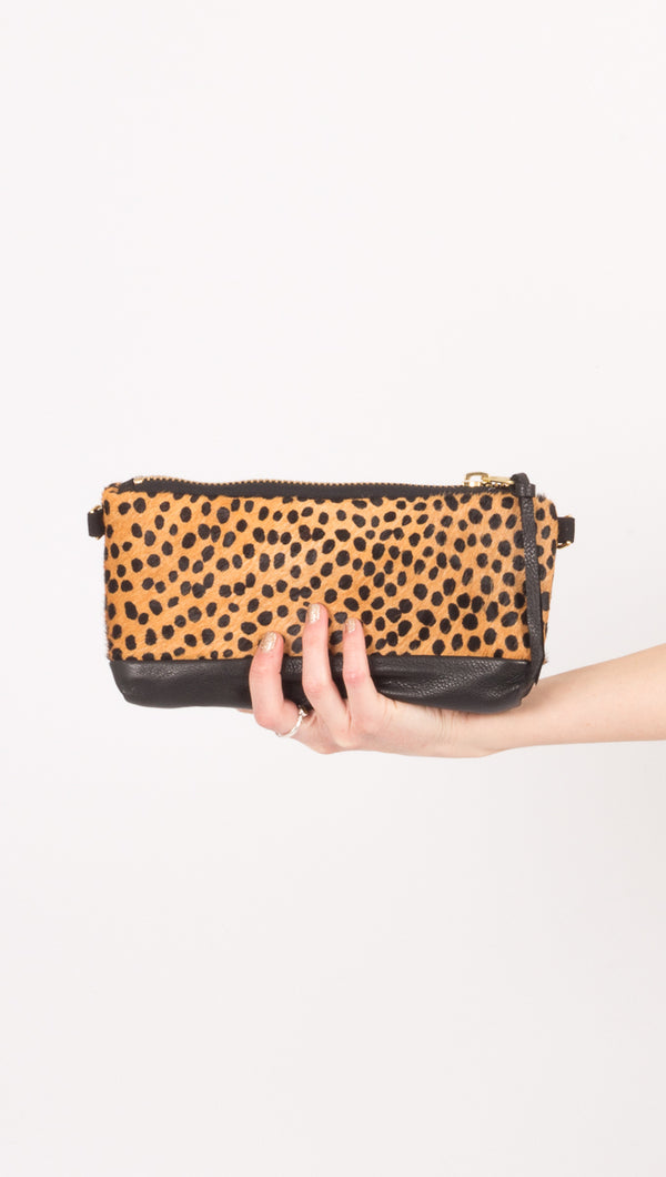 Rais Case Black Leather Cheetah Fanny Pack