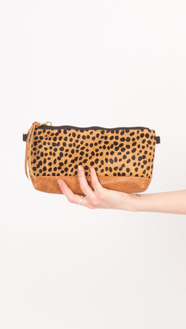 Rais Case Brown Leather Cheetah Fanny Pack