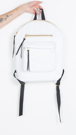 Rais Case White Leather Backpack
