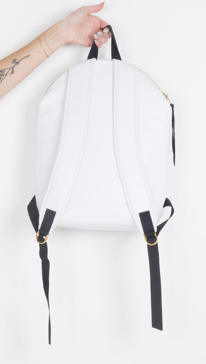 Quinell Leather Backpack - White
