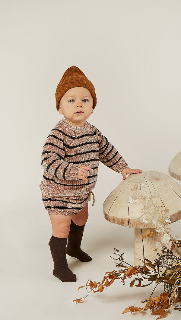 Rylee + Cru Striped Chenille Bloomer in Oat