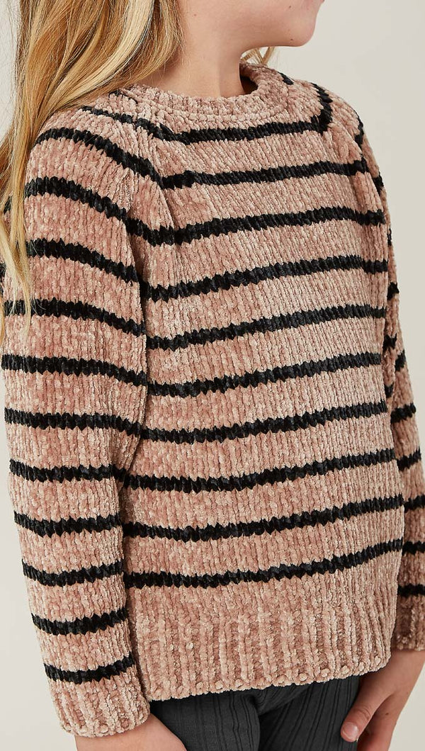Rylee + Cru Striped Chenille Sweater in Oat