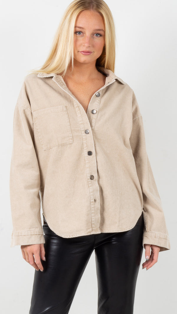 Bexley Corduroy Button Down - Washed Taupe