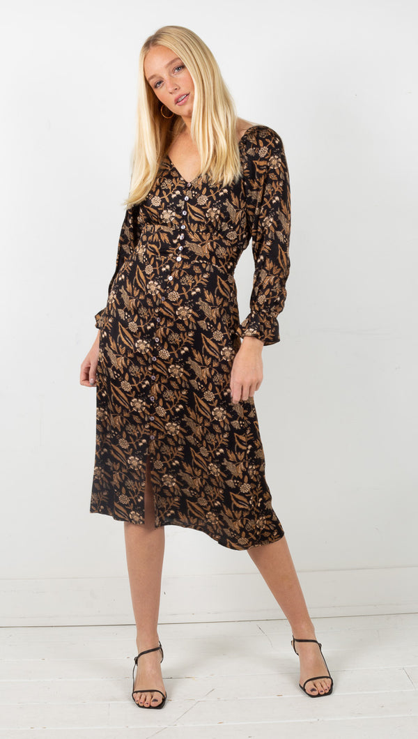 Bethany Midi Dress - Lily Block Print