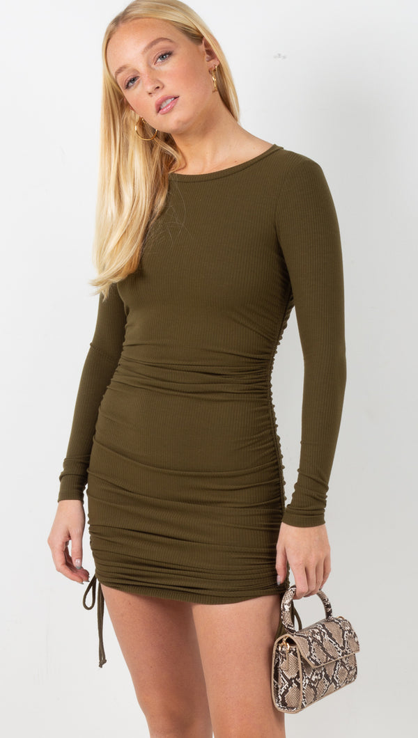 Kaia Ribbed Ruched Mini Dress - Olive