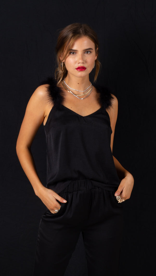 Madeleine Feather Cami - Black