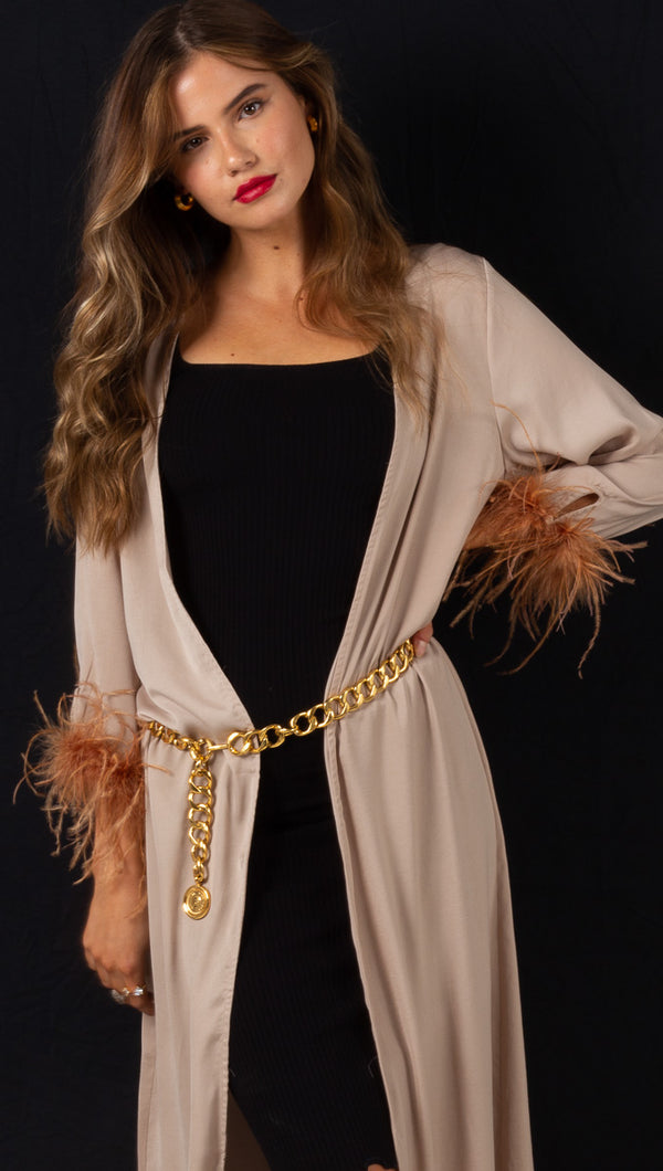 Laguna Feather Robe - Sand