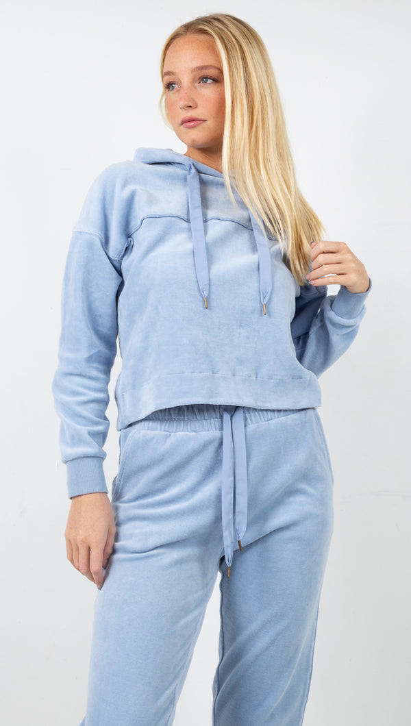 Solice Velour Hoodie - Dusty Blue