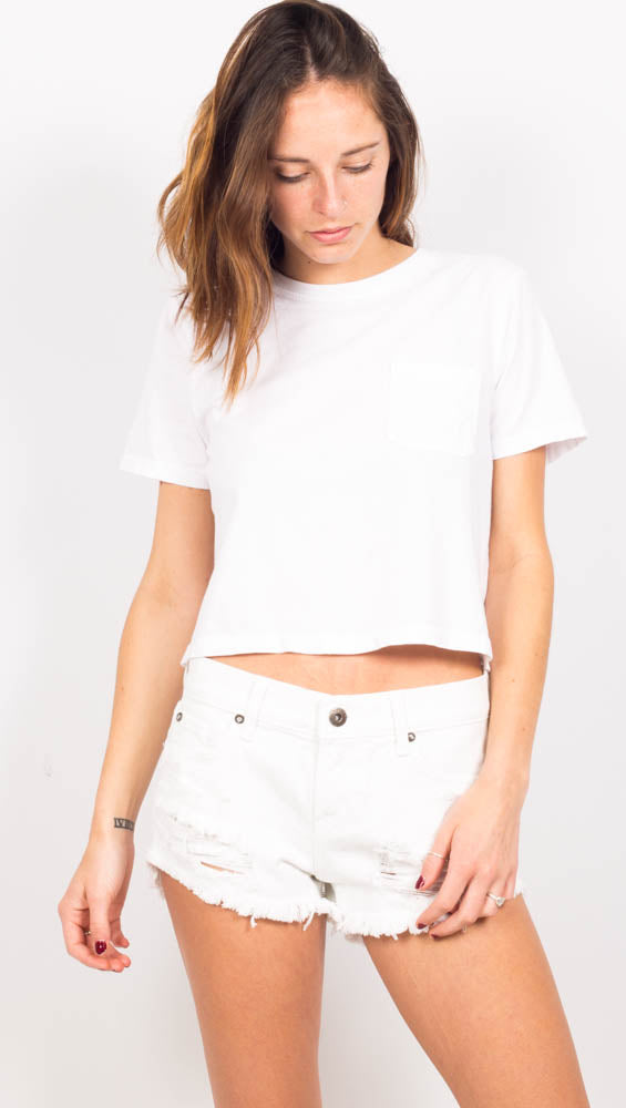 White Short Sleeve Crop Tshirt with front pocket