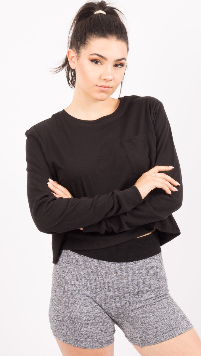 Richer Poorer Black Long Sleeve Cropped Pocket Tee