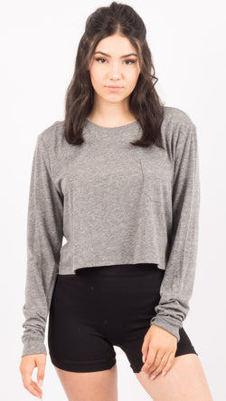 Richer Poorer Long Sleeve Cropped Pocket Tee