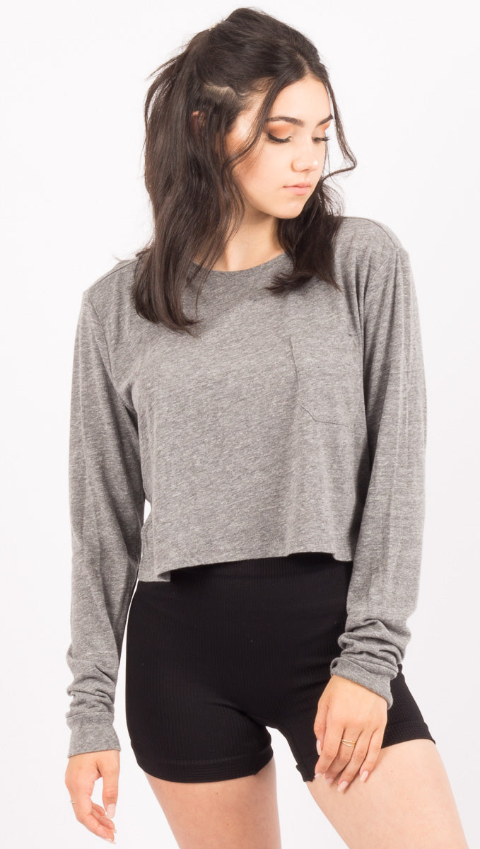 Long Sleeve Crop - Heather Grey