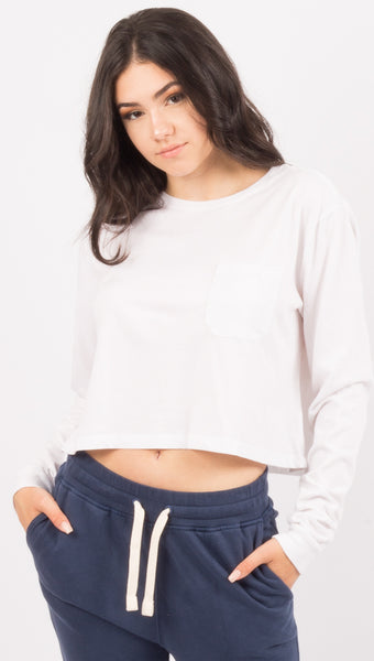 Richer Poorer White Long Sleeve Cropped Pocket Tee