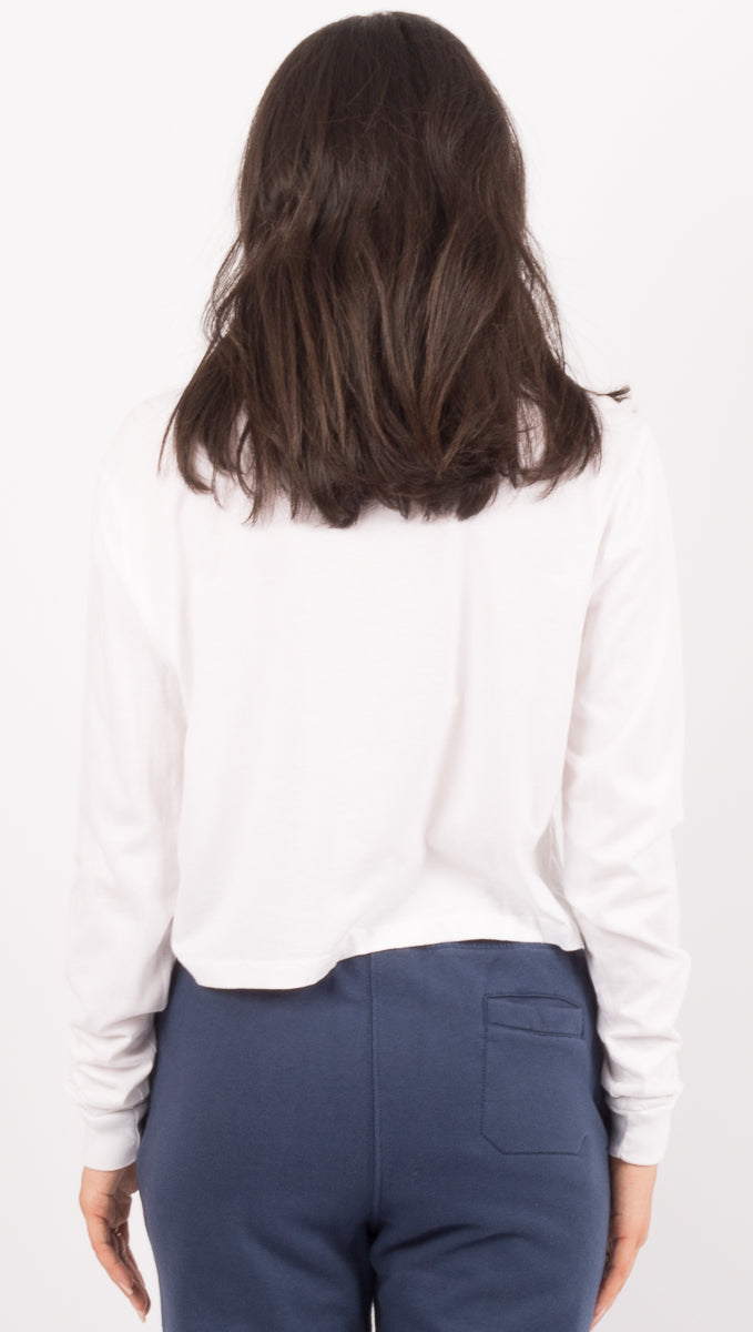 Long Sleeve Crop - White