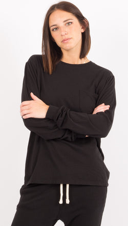 Richer Poorer Black Long Sleeve Pocket Tee