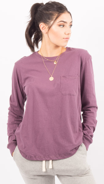 Long Sleeve Pocket Tee - Plum