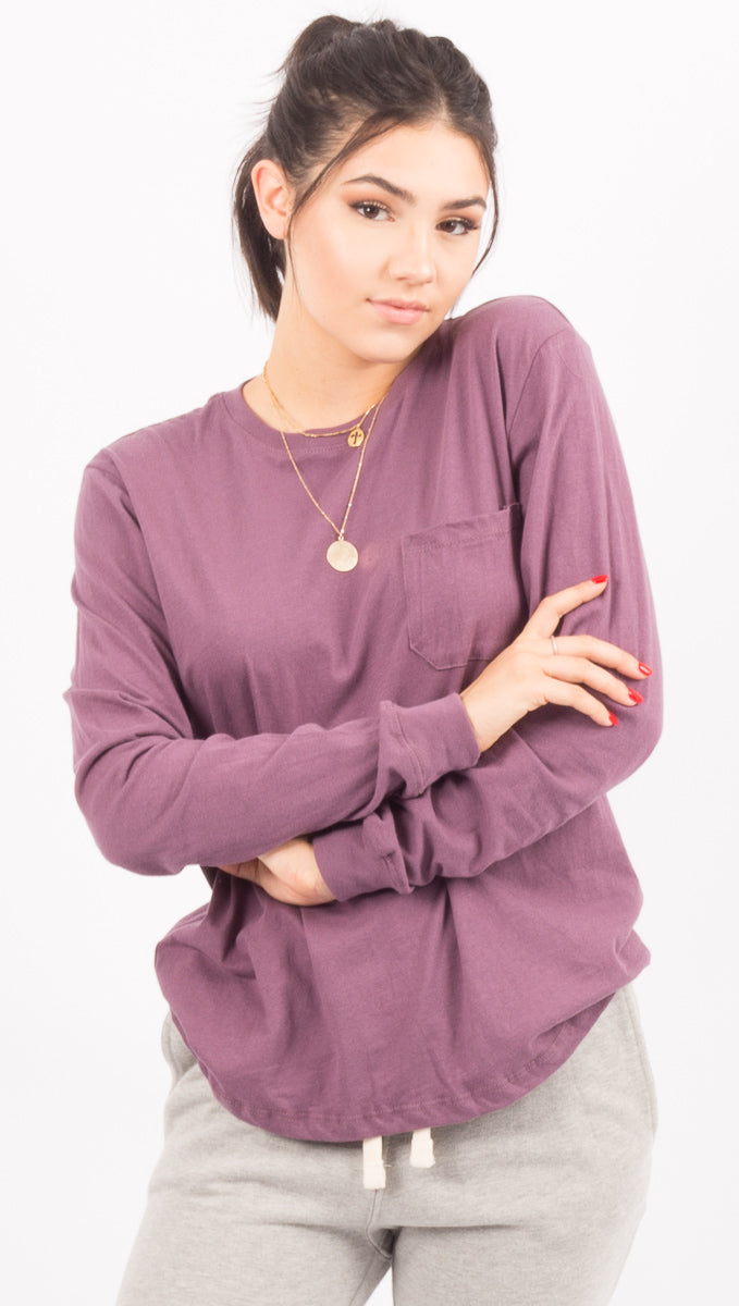 Richer Poorer Purple Long Sleeve Pocket Tee