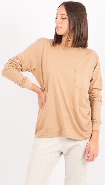 Long Sleeve Pocket Tee - Tan