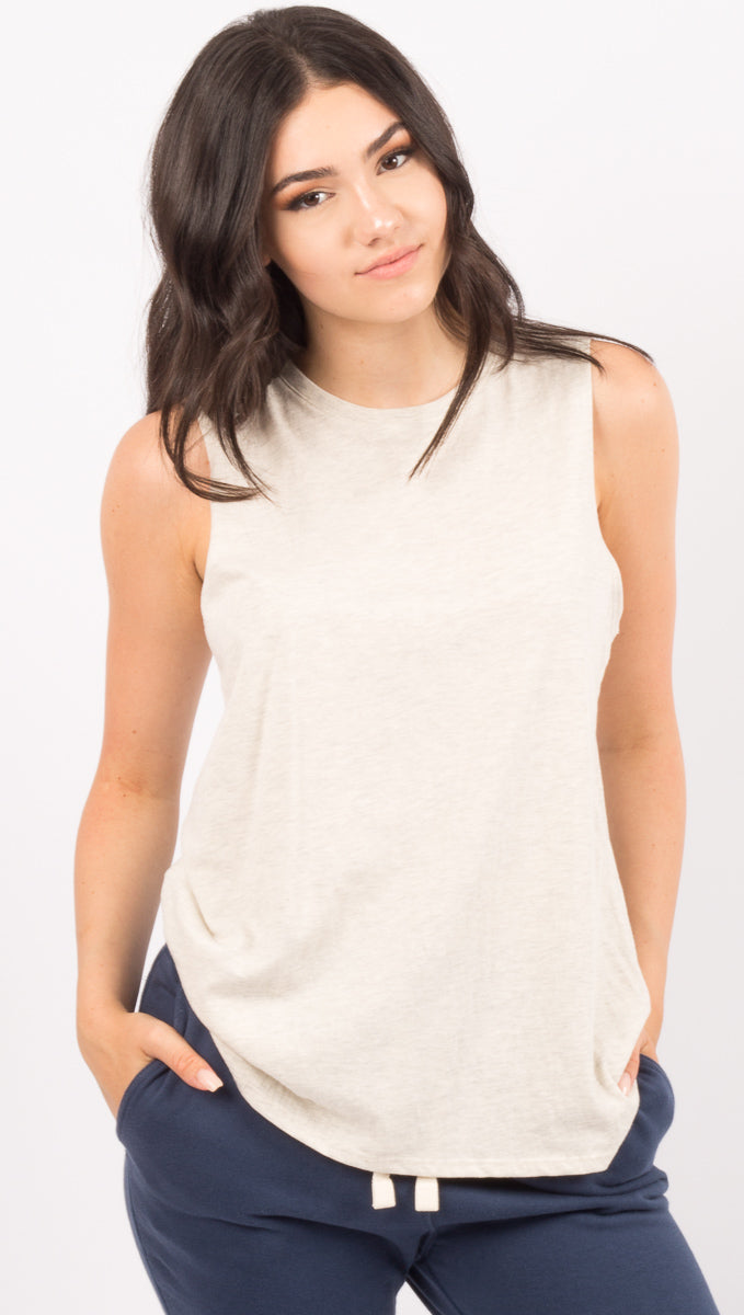 Richer Poorer Light Tan/Grey Muscle Tank