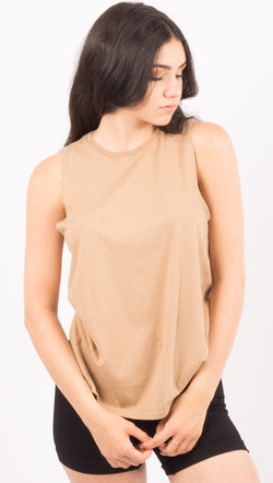 Richer Poorer Tan Muscle Tank