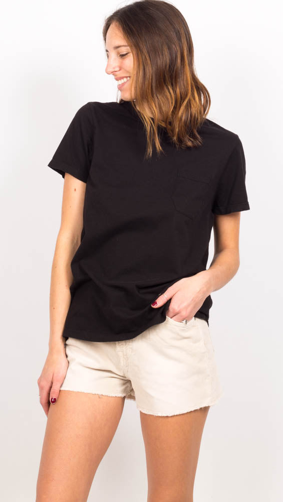 Black Pocket Crew Short Sleeve Tshirt