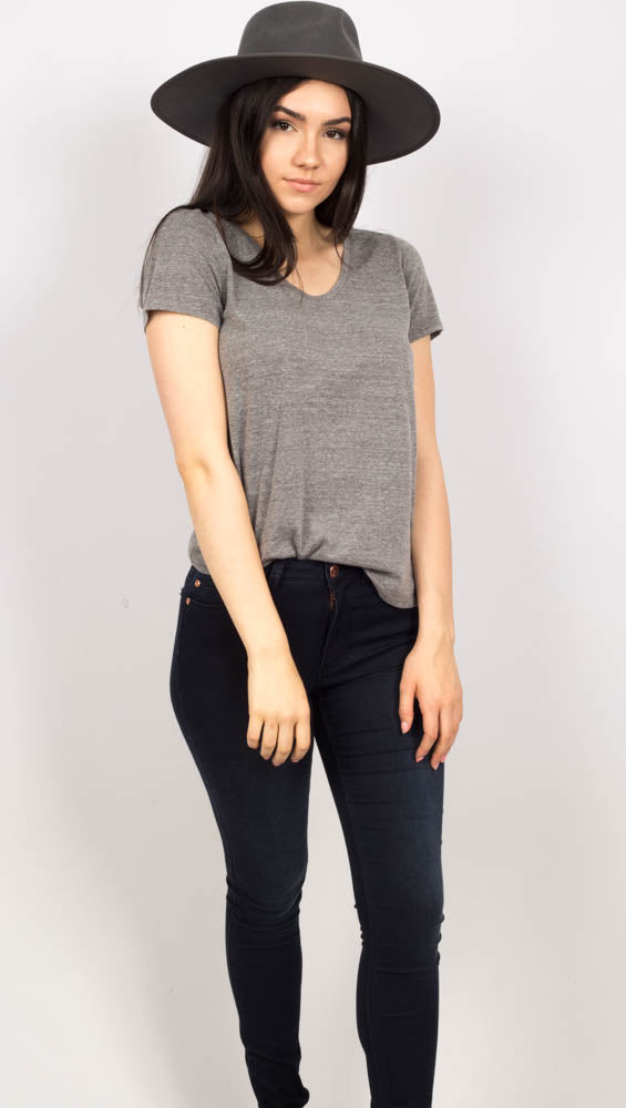 Grey Scoop V Neck Tee