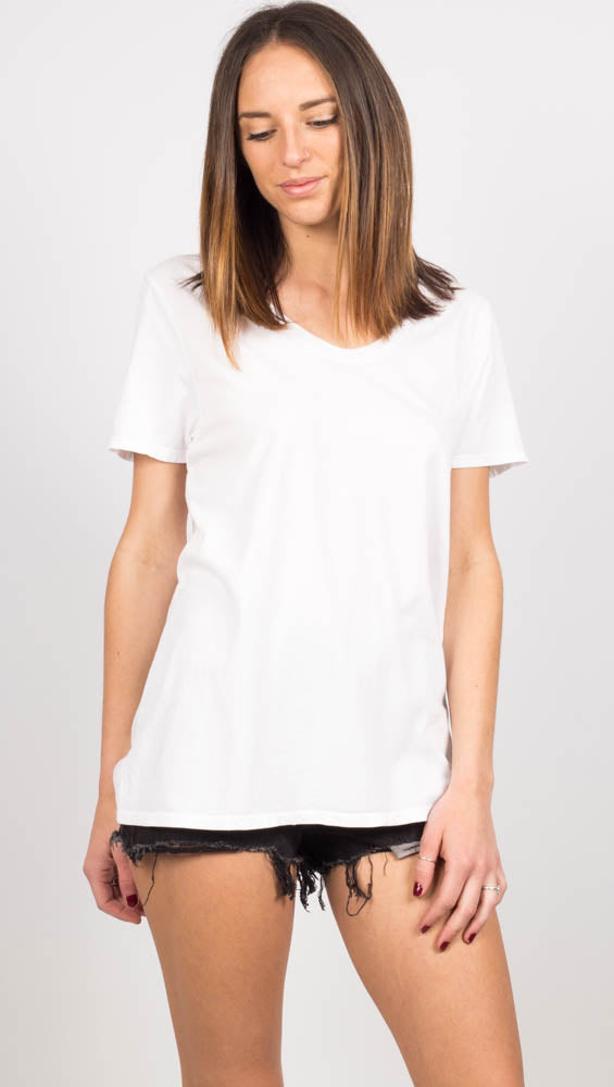 Scoop V Tee - White