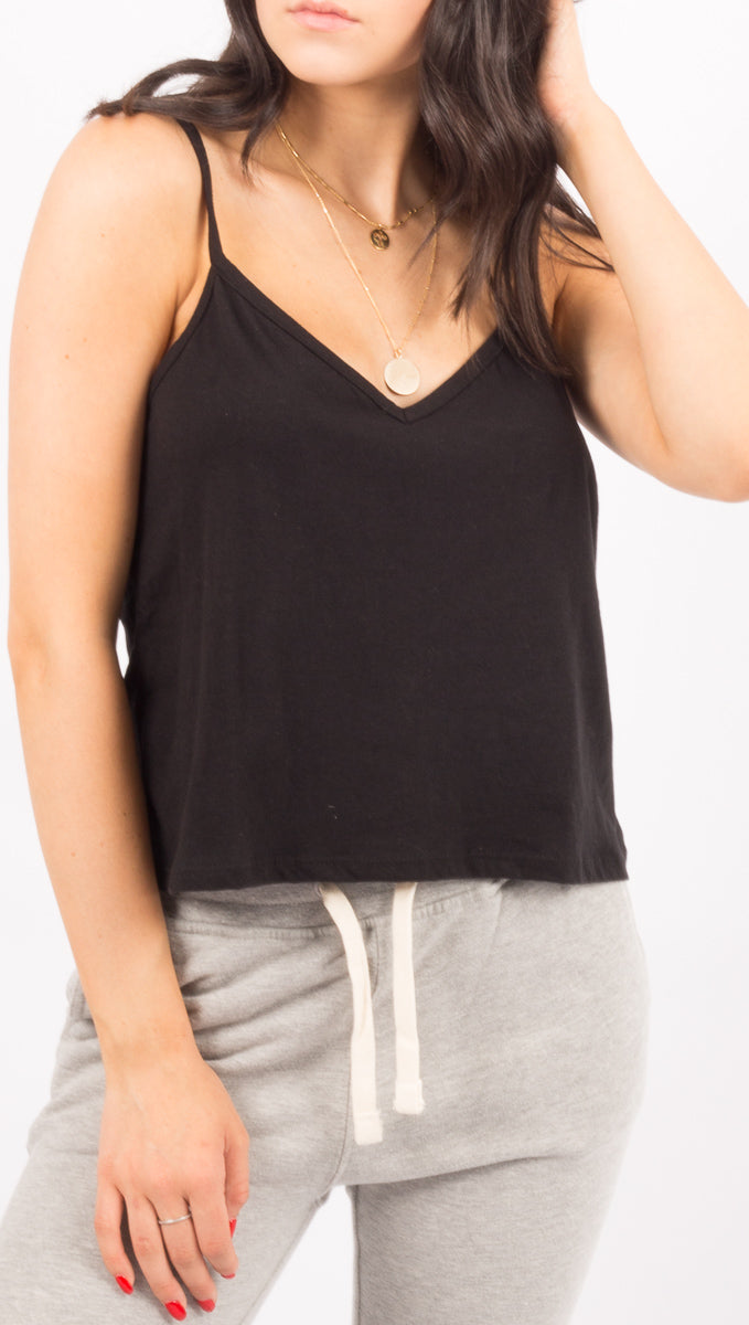 Richer Poorer Black Spaghetti Strap Crop Tank