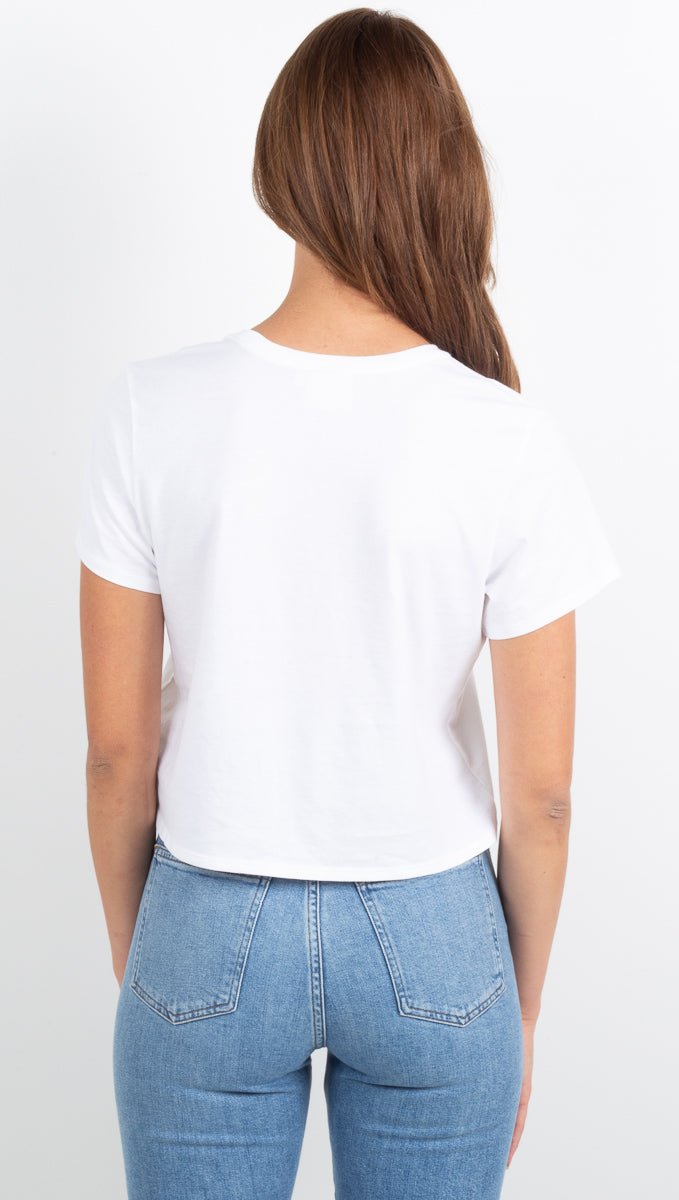 Boxy Crop Tee - White