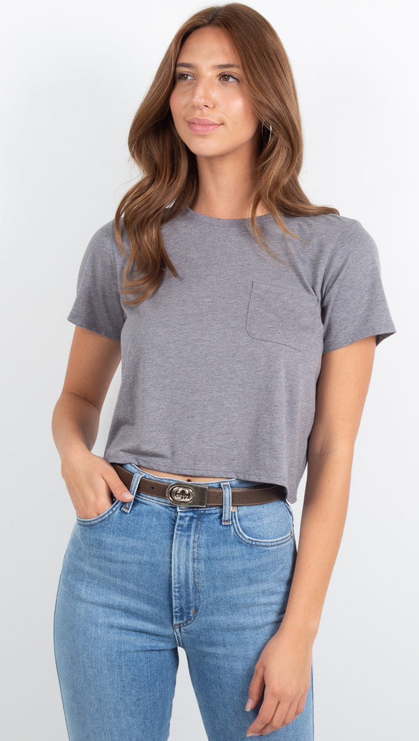 Boxy Crop Tee - Heather Grey