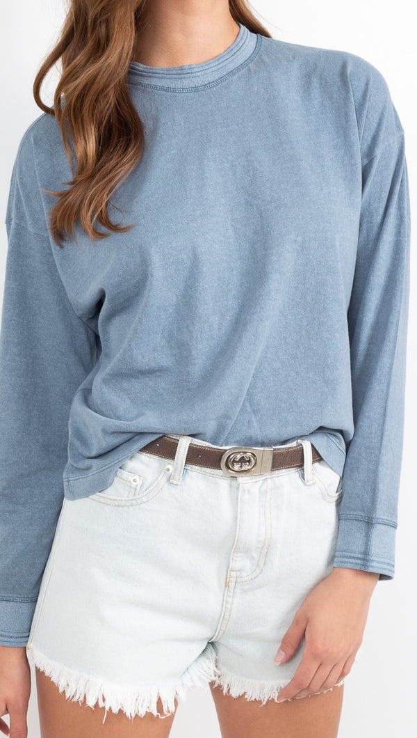 Women's Long Sleeve Relaxed Tee - Blue Mirage