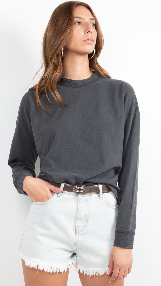 Women's Long Sleeve Relaxed Tee - Stretch Limo