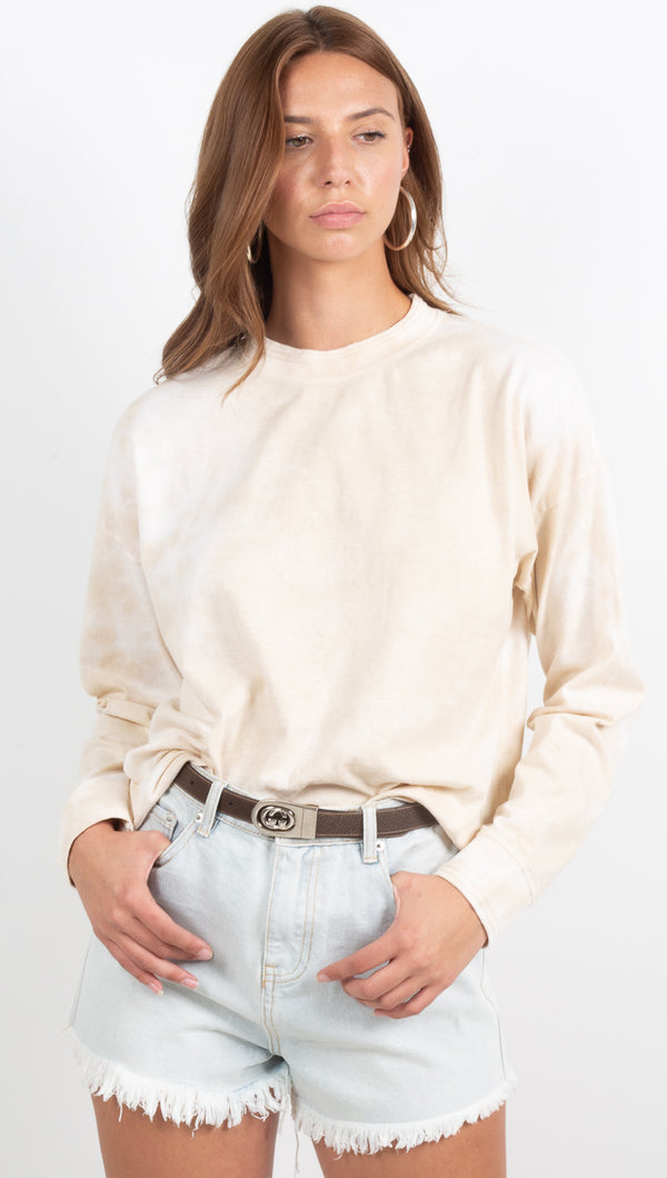 Women's Long Sleeve Relaxed Tee - Cloud Wash