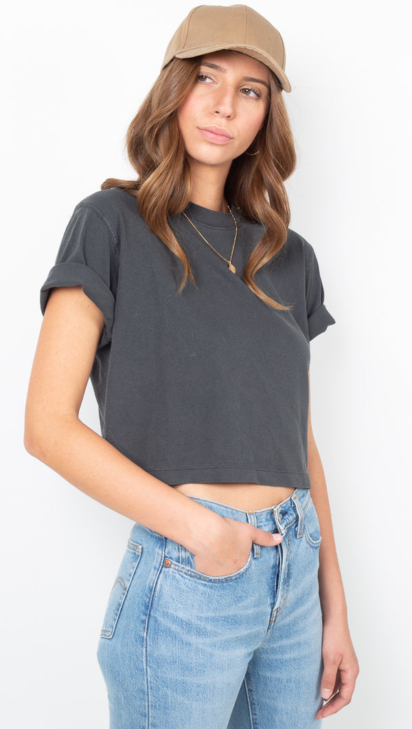 Relaxed Crop Tee - Stretch Limo