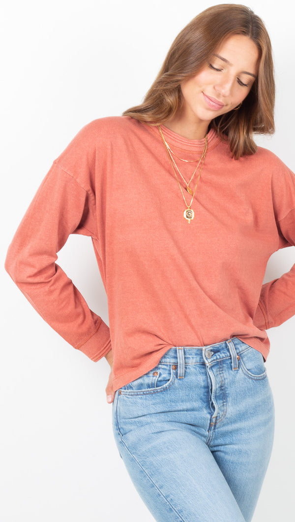 Women's Long Sleeve Relaxed Tee - Summer Cinnamon