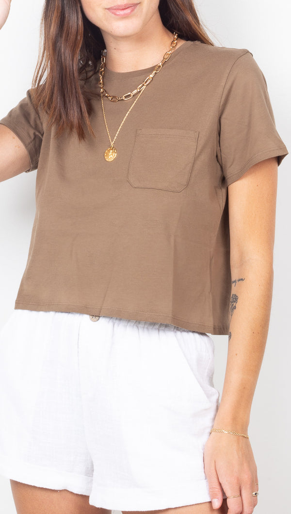 Richer Poorer Brown Short Sleeve Crop Tee