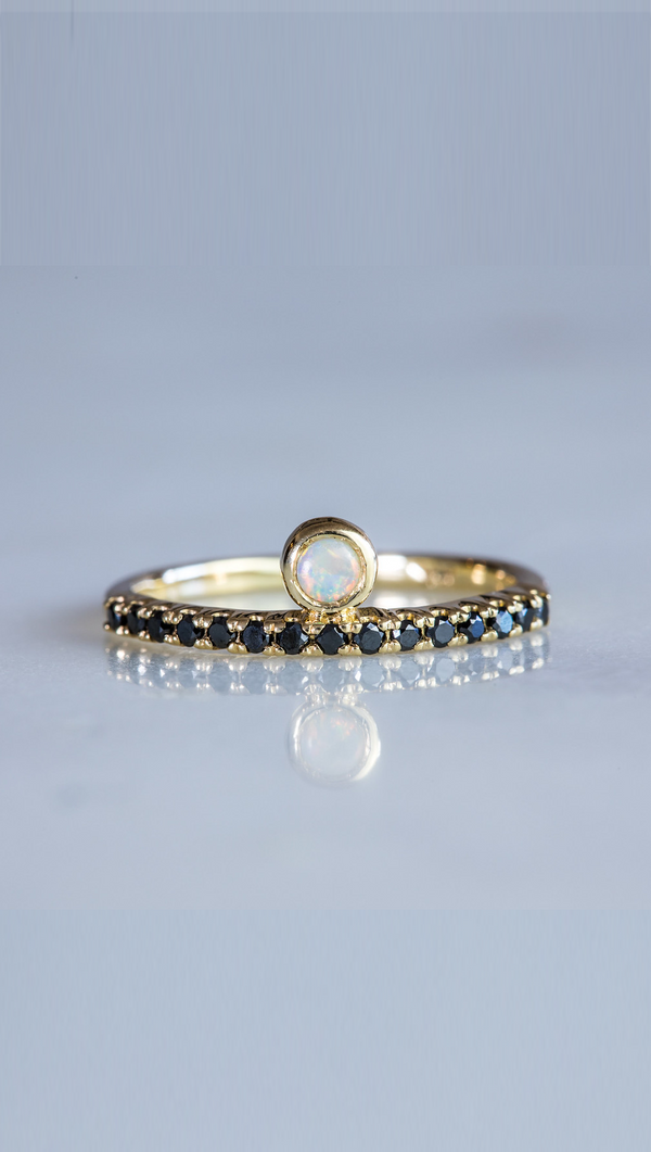 Marrow Fine thin gold ring with Austrailian opal bezel studs