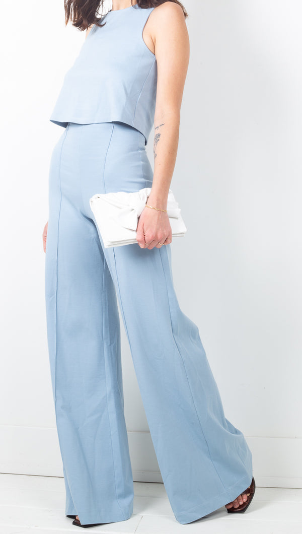 Ripley Rader Light Blue Ponte Knit High Rise Flared Pants