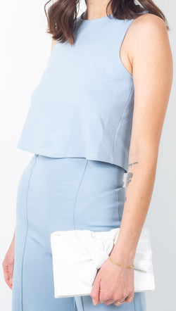 Ripley Rader Light Blue Ponte Knit Cropped Racerback Tank