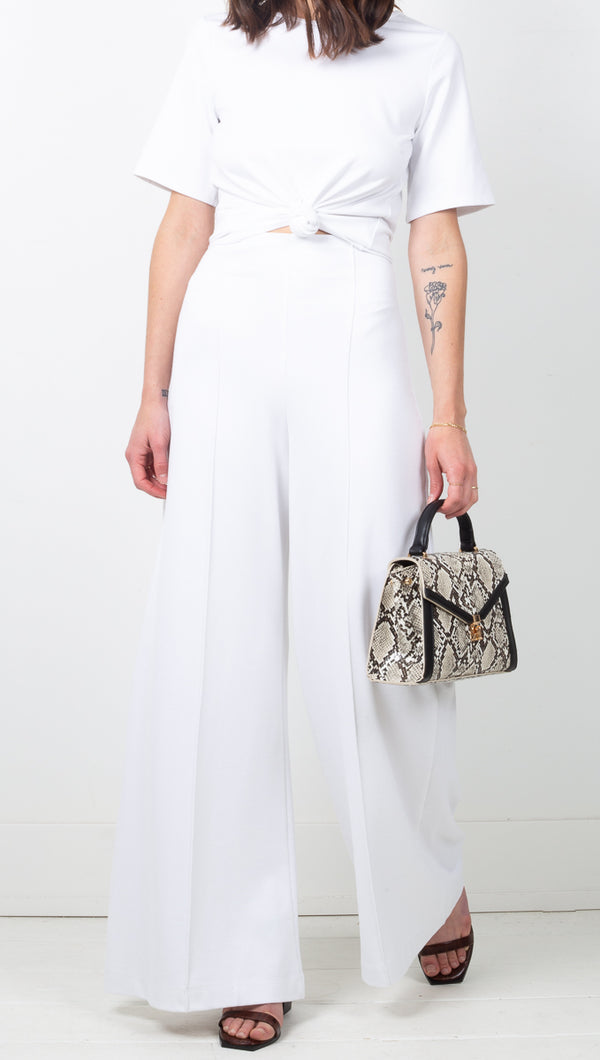 Ripley Rader Off White High Rise Crop Wide Leg Pants