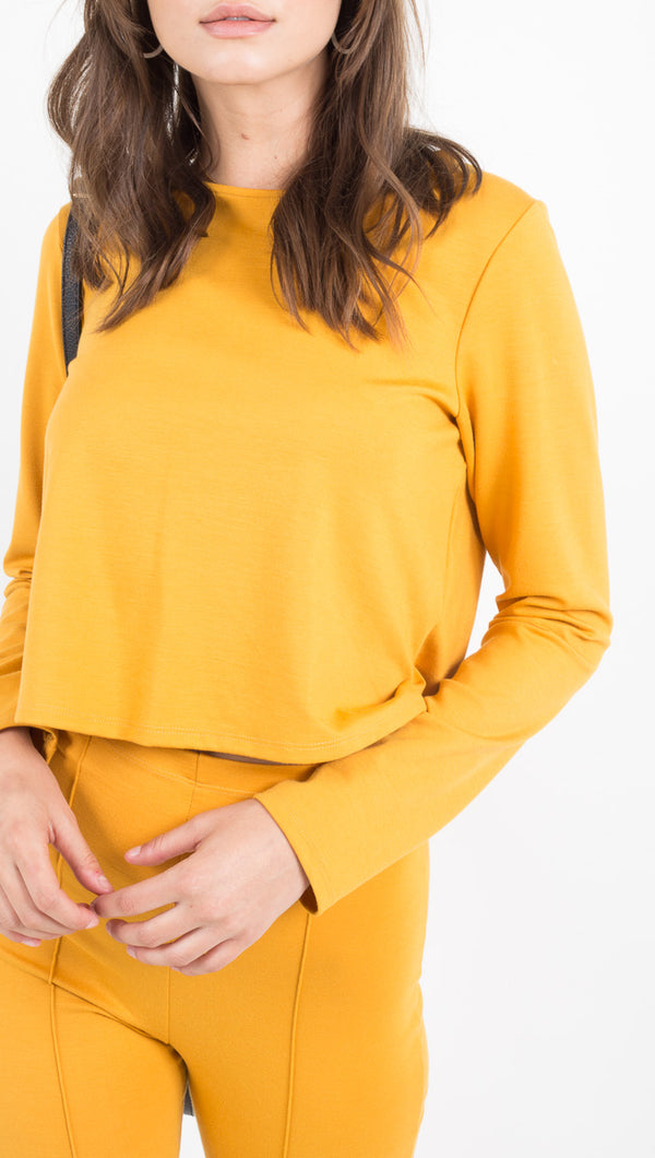 Ripley Rader mustard yellow cropped long sleeve