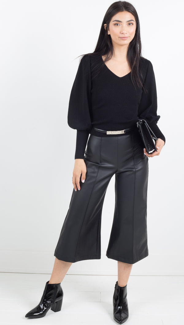 Faux Leather Wide Leg Culottes - Black