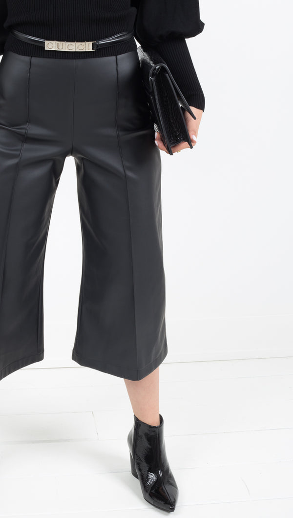 Ripley Rader black faux leather wide leg cropped pant