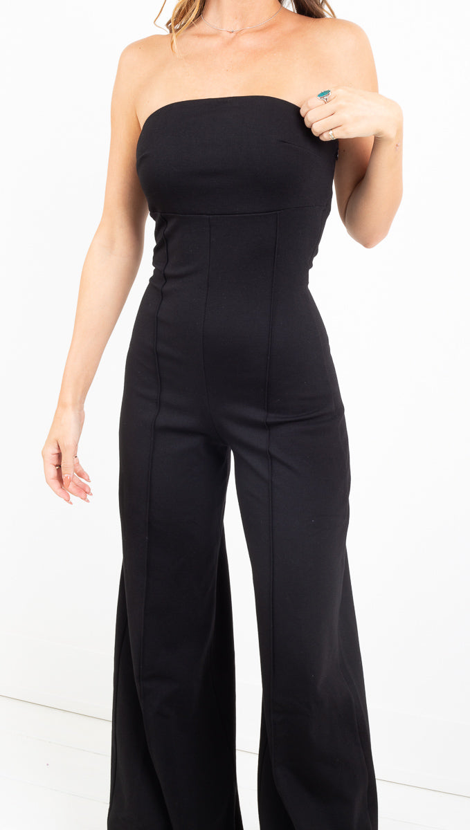 Strapless Wide Leg Catsuit - Black