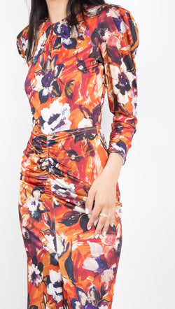 Ronny Kobo red/orange multi floral long sleeve midi dress